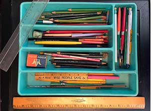 HJT's Pens, Pencils, Erasers in plastic cutlery case
